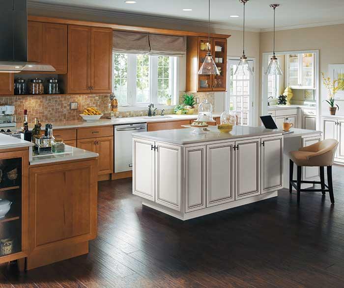 warm_maple_wood_cabinets_white_kitchen_island